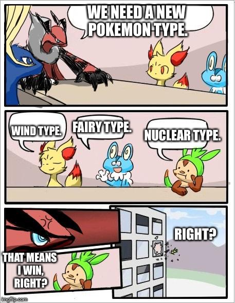 Yveltal turns down the best Pokemon suggestion in history |  WE NEED A NEW POKEMON TYPE. FAIRY TYPE. NUCLEAR TYPE. WIND TYPE. RIGHT? THAT MEANS I WIN, RIGHT? | image tagged in pokemon board meeting,memes | made w/ Imgflip meme maker