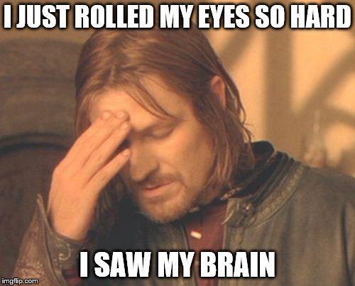 Frustrated Boromir Meme | I JUST ROLLED MY EYES SO HARD I SAW MY BRAIN | image tagged in memes,frustrated boromir | made w/ Imgflip meme maker