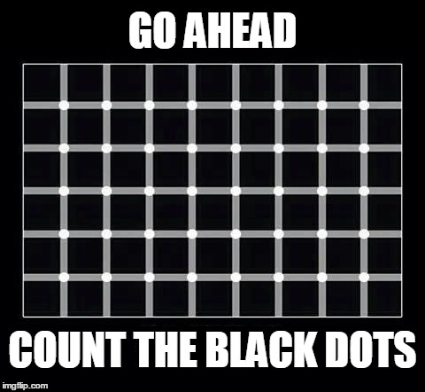 You are invited to... | GO AHEAD COUNT THE BLACK DOTS | image tagged in illusions,memes | made w/ Imgflip meme maker