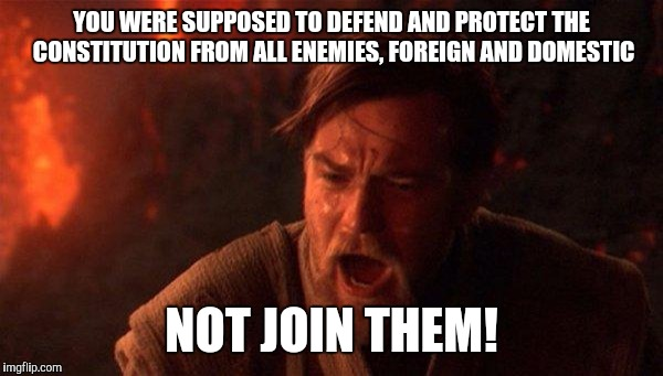 You Were The Chosen One (Star Wars) |  YOU WERE SUPPOSED TO DEFEND AND PROTECT THE CONSTITUTION FROM ALL ENEMIES, FOREIGN AND DOMESTIC; NOT JOIN THEM! | image tagged in memes,you were the chosen one star wars,obama,congress | made w/ Imgflip meme maker