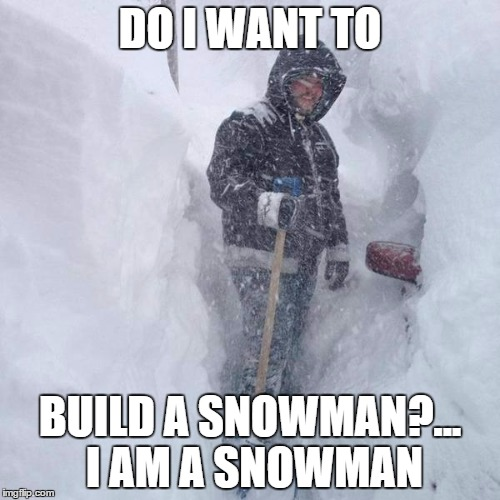 SNOW!!! | DO I WANT TO BUILD A SNOWMAN?... I AM A SNOWMAN | image tagged in snow | made w/ Imgflip meme maker