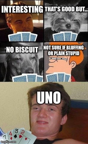 Cards night meme style  | INTERESTING THAT'S GOOD BUT... NO BISCUIT NOT SURE IF BLUFFING OR PLAIN STUPID UNO | image tagged in memes,funny,inception,dogs,futurama fry,10 guy | made w/ Imgflip meme maker