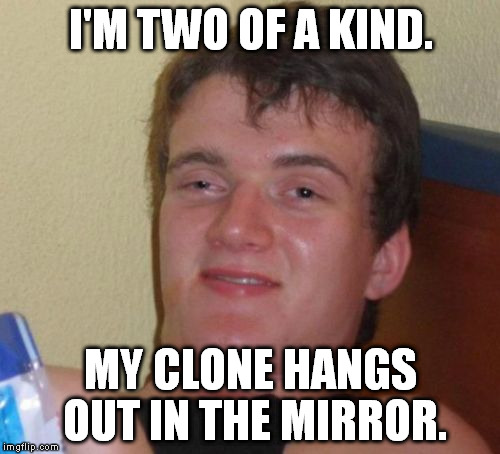 We talk to each other a lot. | I'M TWO OF A KIND. MY CLONE HANGS OUT IN THE MIRROR. | image tagged in memes,10 guy | made w/ Imgflip meme maker