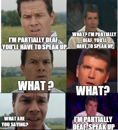 I'M PARTIALLY DEAF, YOU'LL HAVE TO SPEAK UP WHAT? I'M PARTIALLY DEAF, YOU'LL HAVE TO SPEAK UP WHAT ? WHAT? WHAT ARE YOU SAYING? I'M PARTIALL | made w/ Imgflip meme maker