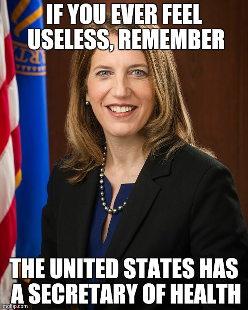 Sylvia Burnwell |  IF YOU EVER FEEL USELESS, REMEMBER; THE UNITED STATES HAS A SECRETARY OF HEALTH | image tagged in health,united states,useless | made w/ Imgflip meme maker