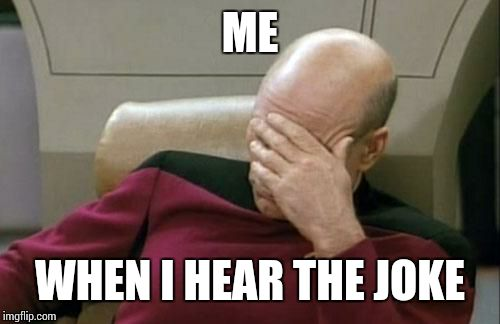 Captain Picard Facepalm Meme | ME WHEN I HEAR THE JOKE | image tagged in memes,captain picard facepalm | made w/ Imgflip meme maker