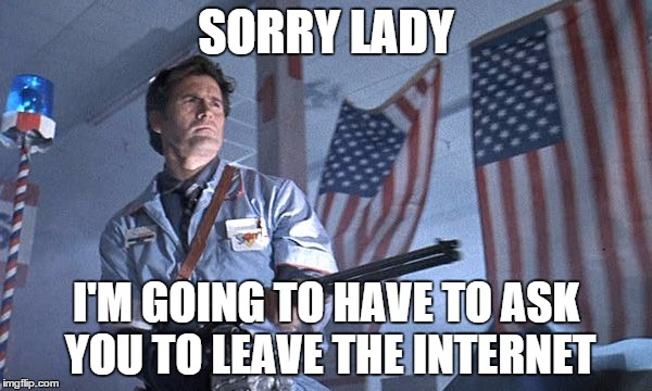 Sorry lady  | SORRY LADY I'M GOING TO HAVE TO ASK YOU TO LEAVE THE INTERNET | image tagged in sorry lady | made w/ Imgflip meme maker