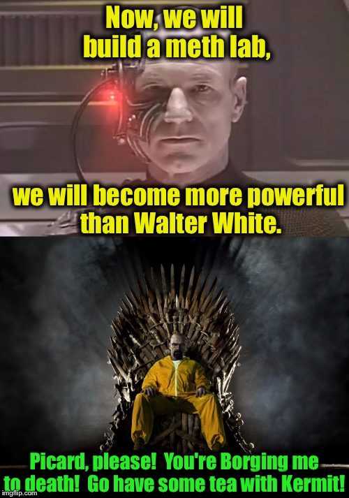 Have the Borg met their match?  Will Locutus of Borg, formerly Captain Picard have tea with Kermit?  To be continued......... | Now, we will build a meth lab, we will become more powerful than Walter White. Picard, please!  You're Borging me to death!  Go have some te | image tagged in picard,memes,walter white,sean connery vs kermit | made w/ Imgflip meme maker