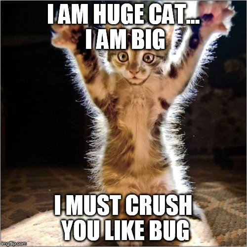 I AM HUGE CAT... I AM BIG I MUST CRUSH YOU LIKE BUG | made w/ Imgflip meme maker