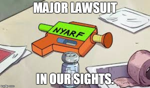 Nerf's Competition | MAJOR LAWSUIT IN OUR SIGHTS. | image tagged in gravity falls,nyarf or nothing,nyarf or nothing meme,gravity falls memes | made w/ Imgflip meme maker