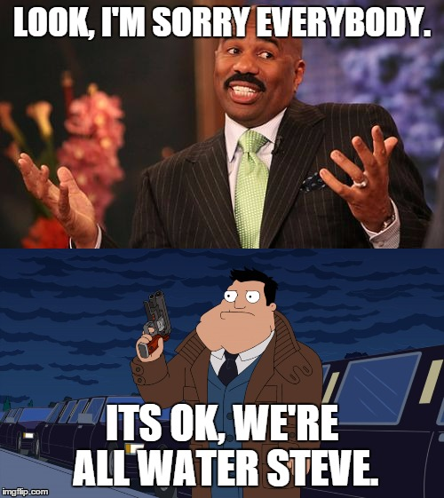 its OK, we all make mistakes. | LOOK, I'M SORRY EVERYBODY. ITS OK, WE'RE ALL WATER STEVE. | image tagged in steve harvey,please forgive me,laughing men in suits,scumbag steve | made w/ Imgflip meme maker