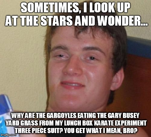 Deep thoughts | SOMETIMES, I LOOK UP AT THE STARS AND WONDER... WHY ARE THE GARGOYLES EATING THE GARY BUSEY YARD GRASS FROM MY LUNCH BOX KARATE EXPERIMENT T | image tagged in memes,10 guy,funny,drugs,drunk | made w/ Imgflip meme maker