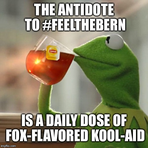 But Thats None Of My Business Meme | THE ANTIDOTE TO #FEELTHEBERN IS A DAILY DOSE OF FOX-FLAVORED KOOL-AID | image tagged in memes,but thats none of my business,kermit the frog | made w/ Imgflip meme maker