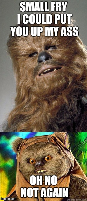 Bad wookie | SMALL FRY I COULD PUT YOU UP MY ASS OH NO NOT AGAIN | image tagged in star wars,bad santa,wookies,ewok,funny | made w/ Imgflip meme maker