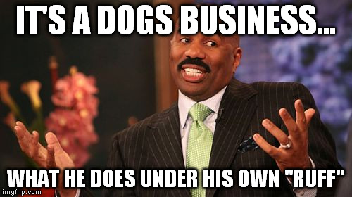 "Steve Harvey Meme | IT'S A DOGS BUSINESS... WHAT HE DOES UNDER HIS OWN ""RUFF"" 