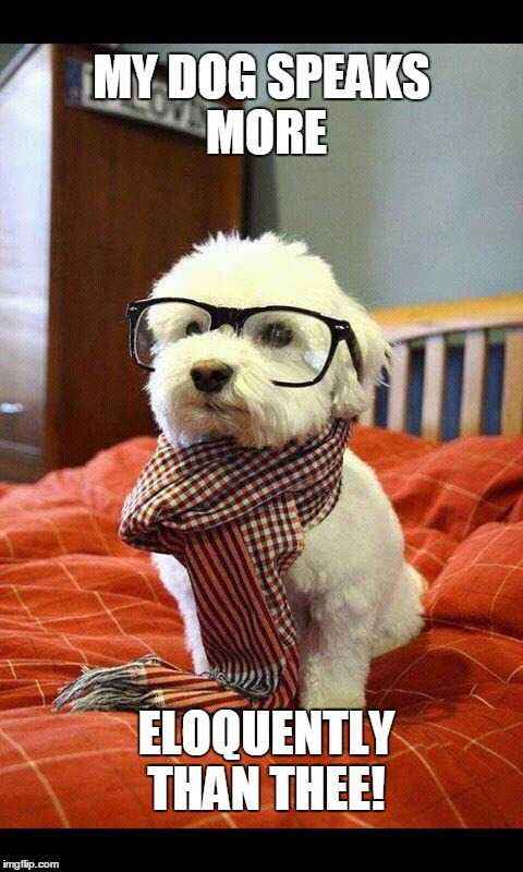 Intelligent Dog |  MY DOG SPEAKS MORE; ELOQUENTLY THAN THEE! | image tagged in memes,intelligent dog | made w/ Imgflip meme maker