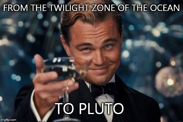 Leonardo Dicaprio Cheers Meme | FROM THE TWILIGHT ZONE OF THE OCEAN TO PLUTO | image tagged in memes,leonardo dicaprio cheers | made w/ Imgflip meme maker