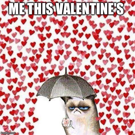 Grumpy cat | ME THIS VALENTINE'S | image tagged in grumpy cat | made w/ Imgflip meme maker