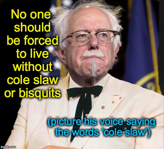 Colonel Bernie Sanders | No one should be forced to live without cole slaw or bisquits (picture his voice saying the words 'cole slaw') | image tagged in colonel bernie sanders | made w/ Imgflip meme maker