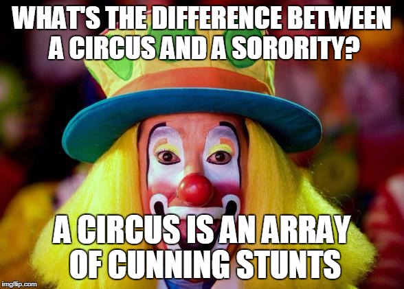 Clown |  WHAT'S THE DIFFERENCE BETWEEN A CIRCUS AND A SORORITY? A CIRCUS IS AN ARRAY OF CUNNING STUNTS | image tagged in clown | made w/ Imgflip meme maker