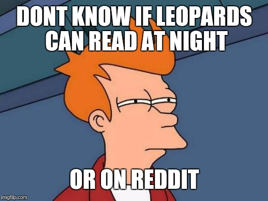 Futurama Fry Meme | DONT KNOW IF LEOPARDS CAN READ AT NIGHT OR ON REDDIT | image tagged in memes,futurama fry | made w/ Imgflip meme maker