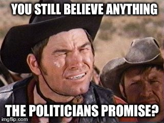 Blazing saddles |  YOU STILL BELIEVE ANYTHING; THE POLITICIANS PROMISE? | image tagged in blazing saddles | made w/ Imgflip meme maker