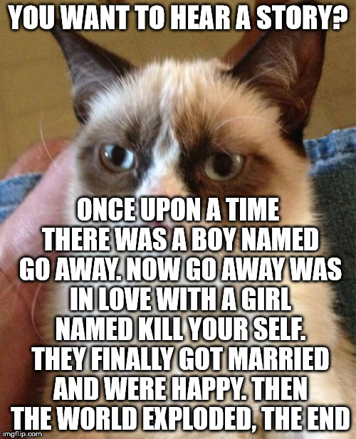 grumpy cat story time | YOU WANT TO HEAR A STORY? ONCE UPON A TIME THERE WAS A BOY NAMED GO AWAY. NOW GO AWAY WAS IN LOVE WITH A GIRL NAMED KILL YOUR SELF. THEY FIN | image tagged in memes,grumpy cat | made w/ Imgflip meme maker