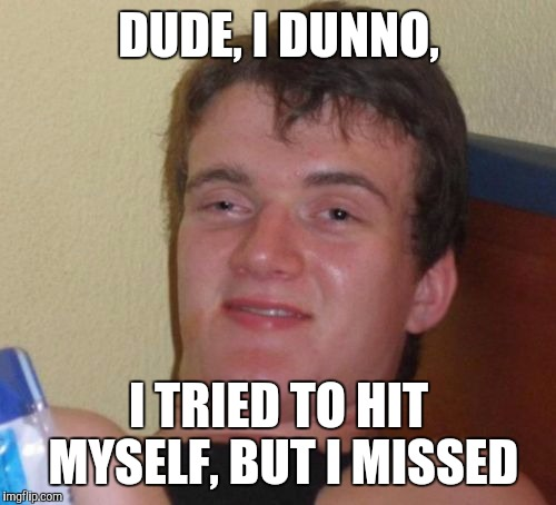 10 Guy Meme | DUDE, I DUNNO, I TRIED TO HIT MYSELF, BUT I MISSED | image tagged in memes,10 guy | made w/ Imgflip meme maker