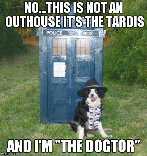 "NO...THIS IS NOT AN OUTHOUSE IT'S THE TARDIS AND I'M ""THE DOGTOR"" 