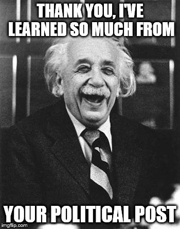 Einstein laugh | THANK YOU, I'VE LEARNED SO MUCH FROM YOUR POLITICAL POST | image tagged in einstein laugh | made w/ Imgflip meme maker