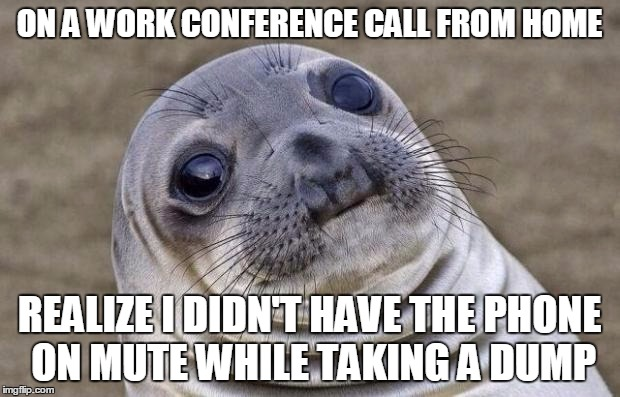 Awkward Moment Sealion | ON A WORK CONFERENCE CALL FROM HOME REALIZE I DIDN'T HAVE THE PHONE ON MUTE WHILE TAKING A DUMP | image tagged in memes,awkward moment sealion | made w/ Imgflip meme maker