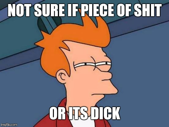 Futurama Fry Meme | NOT SURE IF PIECE OF SHIT OR ITS DICK | image tagged in memes,futurama fry | made w/ Imgflip meme maker