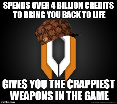 SPENDS OVER 4 BILLION CREDITS TO BRING YOU BACK TO LIFE GIVES YOU THE CRAPPIEST WEAPONS IN THE GAME | image tagged in cerberus,masseffect | made w/ Imgflip meme maker