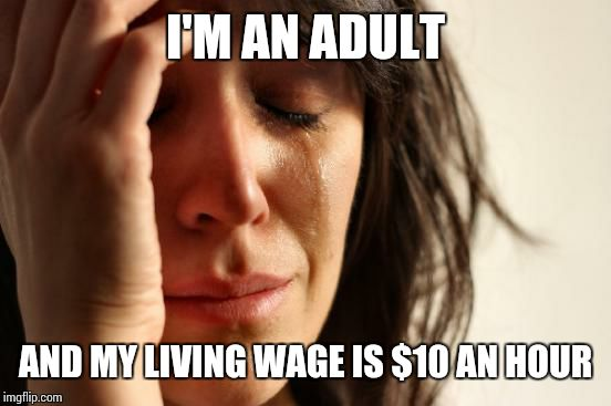 First World Problems Meme | I'M AN ADULT AND MY LIVING WAGE IS $10 AN HOUR | image tagged in memes,first world problems | made w/ Imgflip meme maker