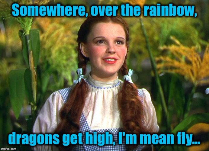 Dorothy | Somewhere, over the rainbow, dragons get high, I'm mean fly... | image tagged in dorothy | made w/ Imgflip meme maker