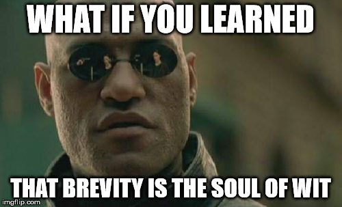 Matrix Morpheus Meme | WHAT IF YOU LEARNED THAT BREVITY IS THE SOUL OF WIT | image tagged in memes,matrix morpheus | made w/ Imgflip meme maker