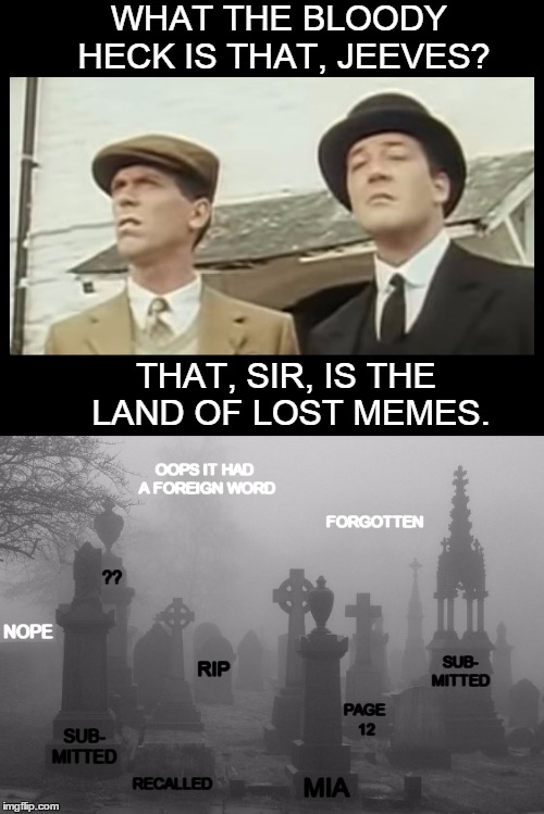 It's a sad, mysterious place. | WHAT THE BLOODY HECK IS THAT, JEEVES? THAT, SIR, IS THE LAND OF LOST MEMES. RIP SUB- MITTED PAGE 12 MIA RECALLED SUB- MITTED ?? FORGOTTEN OO | image tagged in what the heck,jeeves,wooster,lost memes,graveyard | made w/ Imgflip meme maker