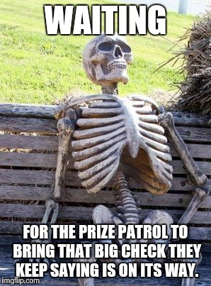 There is only a FINAL round. | WAITING FOR THE PRIZE PATROL TO BRING THAT BIG CHECK THEY KEEP SAYING IS ON ITS WAY. | image tagged in memes,waiting skeleton,sweepstakes,lottery,funny,so true memes | made w/ Imgflip meme maker