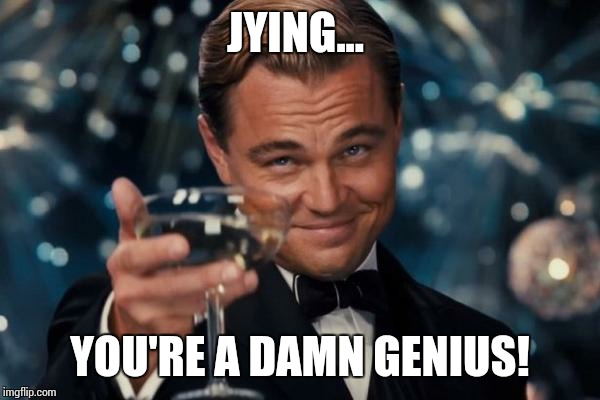Leonardo Dicaprio Cheers Meme | JYING... YOU'RE A DAMN GENIUS! | image tagged in memes,leonardo dicaprio cheers | made w/ Imgflip meme maker