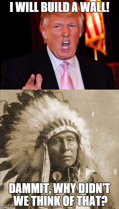 Donald Trump and Native American | I WILL BUILD A WALL! DAMMIT, WHY DIDN'T WE THINK OF THAT? | image tagged in donald trump and native american | made w/ Imgflip meme maker