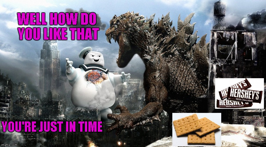 That should be enough S'mores to go around. | WELL HOW DO YOU LIKE THAT YOU'RE JUST IN TIME | image tagged in godzilla vs staypuft marshmallow man,godzilla,staypuft,memes,when movies collide,funny | made w/ Imgflip meme maker