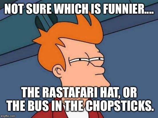Futurama Fry Meme | NOT SURE WHICH IS FUNNIER.... THE RASTAFARI HAT, OR THE BUS IN THE CHOPSTICKS. | image tagged in memes,futurama fry | made w/ Imgflip meme maker