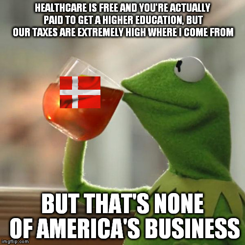 But Thats None Of My Business Meme | HEALTHCARE IS FREE AND YOU'RE ACTUALLY PAID TO GET A HIGHER EDUCATION, BUT OUR TAXES ARE EXTREMELY HIGH WHERE I COME FROM BUT THAT'S NONE OF | image tagged in memes,but thats none of my business,kermit the frog | made w/ Imgflip meme maker