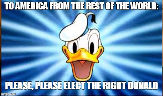 Elect the right Donald | TO AMERICA FROM THE REST OF THE WORLD: PLEASE, PLEASE ELECT THE RIGHT DONALD | image tagged in doing the right things | made w/ Imgflip meme maker