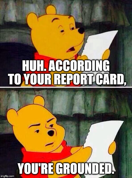 Pooh bear | HUH. ACCORDING TO YOUR REPORT CARD, YOU'RE GROUNDED. | image tagged in pooh bear | made w/ Imgflip meme maker