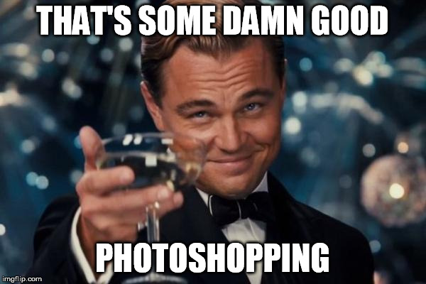 Leonardo Dicaprio Cheers Meme | THAT'S SOME DAMN GOOD PHOTOSHOPPING | image tagged in memes,leonardo dicaprio cheers | made w/ Imgflip meme maker