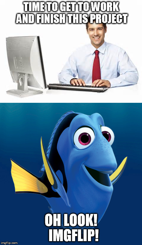 Finding Imgflip | TIME TO GET TO WORK AND FINISH THIS PROJECT OH LOOK!  IMGFLIP! | image tagged in memes,finding dory,computer guy,work,distraction | made w/ Imgflip meme maker
