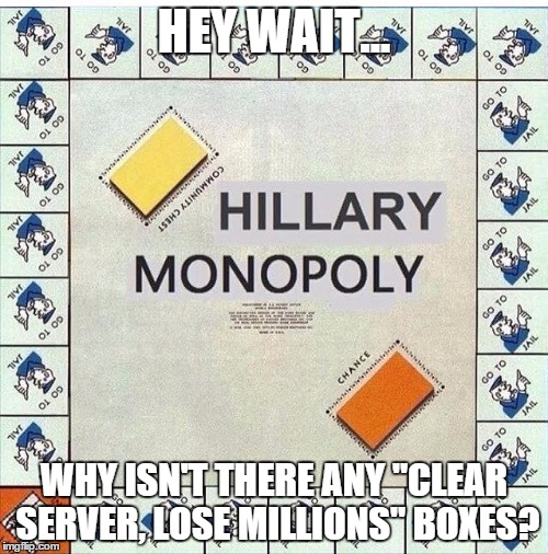 "Hillary Monopoly | HEY WAIT... WHY ISN'T THERE ANY ""CLEAR SERVER, LOSE MILLIONS"" BOXES? 