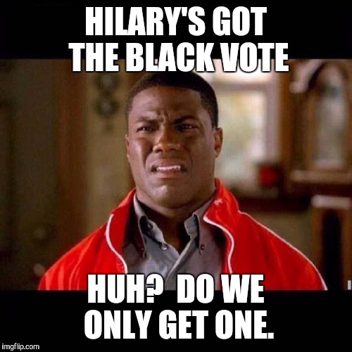 WTF black guy | HILARY'S GOT THE BLACK VOTE HUH?  DO WE ONLY GET ONE. | image tagged in wtf black guy | made w/ Imgflip meme maker