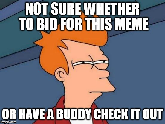 Futurama Fry Meme | NOT SURE WHETHER TO BID FOR THIS MEME OR HAVE A BUDDY CHECK IT OUT | image tagged in memes,futurama fry | made w/ Imgflip meme maker